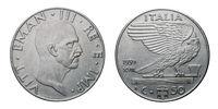 fifty 50 cents Lira acmonital Coin 1939 XVIII Empire Vittorio Emanuele III Kingdom of Italy