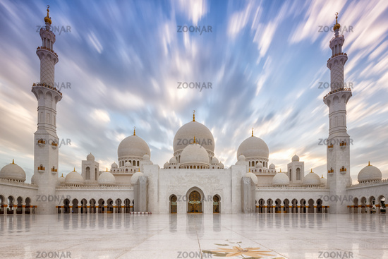 Scheich Zayed Große Moschee Abu Dhabi Sheikh Abend Minarette Vereinigte Arabische Emirate