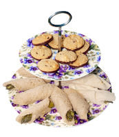 Retro Plates with Chocolate Biscuits and Asparagus Rolls
