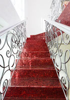 Classical mosaic stairs with beautiful handrail