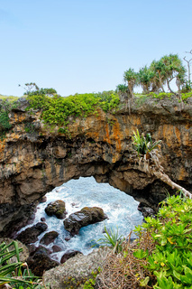 Natural land bridge Hufangalupe on the southern part of Tongatapu island in Tonga