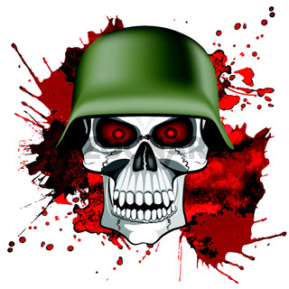 Abstract image of a human skull in an army helmet