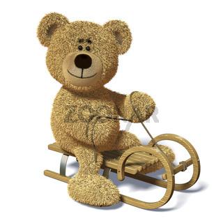 Nhi-Bär auf dem Schlitten