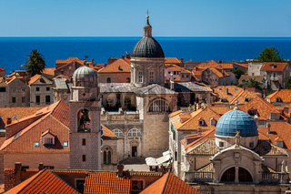 Aerial View of Luza Square, Saint Blaise Church and Assumption Cathedral from the City Walls, Dubrovnik, Croatia