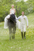 Garden Wedding bride on horse