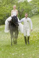 Garden Wedding bride on horse