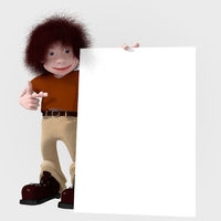 Cartoon character with big board