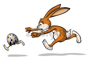 Osterhase jagt laufendes Ei