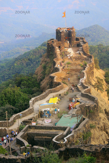 Aerial view of Pratapgad fort, Satara, Maharashtra