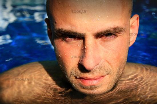 Man gazing while in water