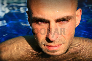 Man gazing while in water