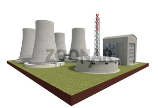 nuclear power plant isolated on white 3d illustration