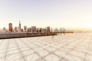 cityscape and skyline of san francisco from empty brick floor