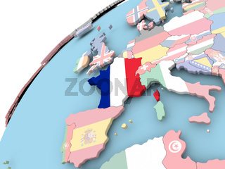 France on globe with flag