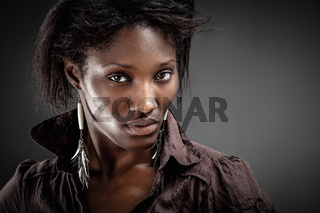 Portrait of a sensual young African woman.