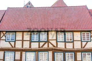 Traditionelle Fachwerkhaus-Architektur in Parchim, Mecklenburg-Vorpommern