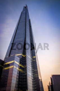 London skyscraper at dusk