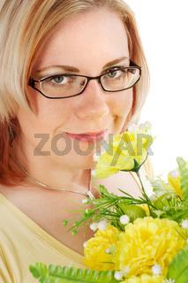 Junge Frau mit Blumen