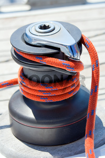 Winch with red rope