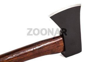 Axe with wooden handle isolated on white background