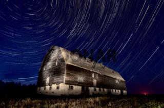 Night Barn Star Trails