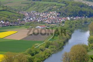 Landschaft und Weinberge bei Stetten, Landkreis Main-Spessart, Unterfranken, Bayern, Deutschland