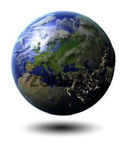 Europe on hovering globe