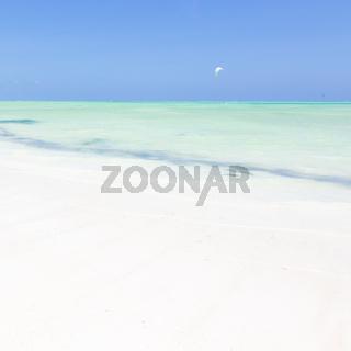 Kite surfers on Paje beach, Zanzibar, Tanzania.