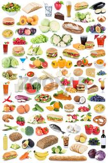 Sammlung Collage Essen und trinken gesunde Ernährung Obst Gemüse Früchte Lebensmittel Freisteller