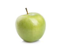 Young green apple on a white background