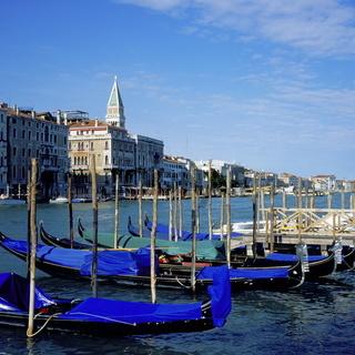 Gondolas on Canal Grande, Venice, Italy, Europe