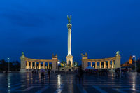 Heroes Square in Budapest. Evening View. One of the major squares in Budapest, Hungary.