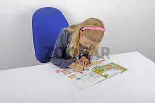 junge Schuelerin macht Hausaufgaben