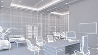 3D Interior rendering of an office