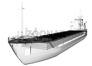 isolated transparent tanker ship