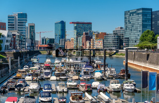 Dusseldorf city cityscape with urban marina