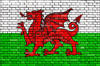 flag of Wales painted on brick wall