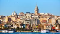 Beyoglu district historic architecture and Galata tower medieval landmark in Istanbul, Turkey