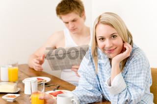 Breakfast happy couple enjoy romantic morning