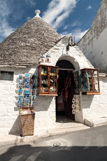 Souvenir shop in a street of Alberobello, Puglia, Italy