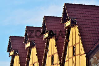 Fachwerk-Architektur. Fisch-Dorf, Kaliningrad, Russland