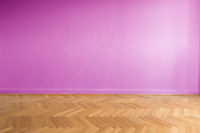 parquet floor and pink wall background - empty room , new flat