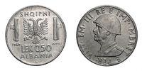 fifty 50 cents LEK Albania Colony acmonital Coin 1940 Vittorio Emanuele III Kingdom of Italy, World war II