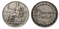 One 1 Lira Nichelio Coin 1924 Buono Vittorio Emanuele III Kingdom of Italy