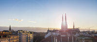 Above the roofs of Vienna - with the Votive church at sunset