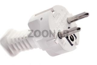 White Central European power plug as closeup on white background