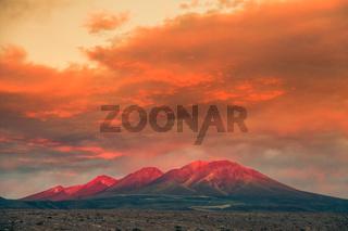 Sunset in the Atacama desert near San Pedro di Atacama, Chile