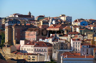 The residential houses in the  Pombaline Lower Town (Baixa). Lisbon. Portugal
