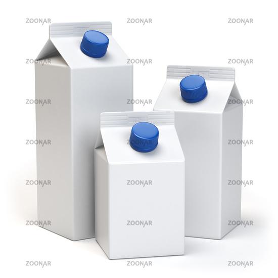 Milk or juiice blank white carton packs Isolated on white.