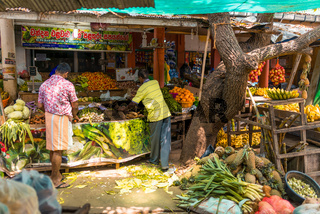 Small business on the old market of the city Tangalle in the south of Sri Lanka